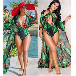 Other - Tropical Print One Piece Suit & Matching Chiffon